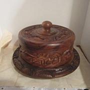 Carved Wooden Cake Serving Platter & Cover