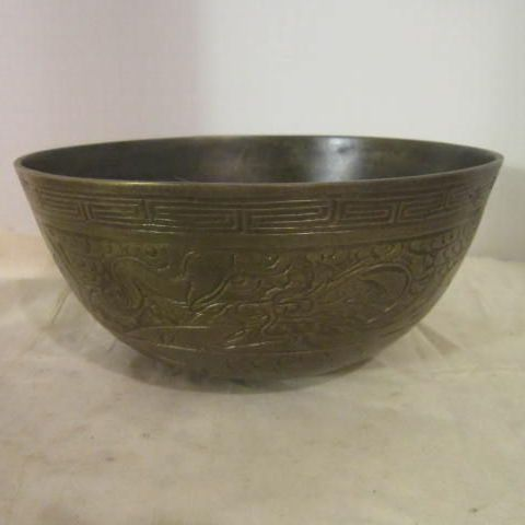 Vintage Chinese Brass Etched Bowl with Seal on Bottom