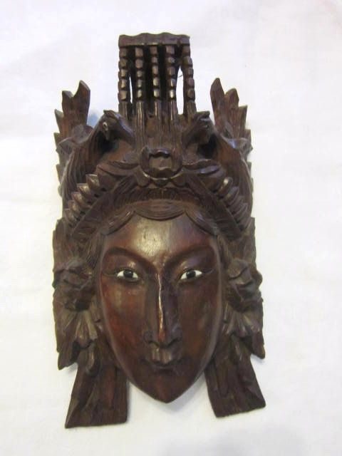 Vintage Hand Carved Wood Mask Of A Mongolian Female From