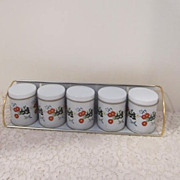 Vintage Set of 6 Mini-Canister Set by Meister in Original Box with Wall Rack