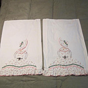 "Vintage Hand Embroidered ""Sunbonnet' Pair of Pillowslips"