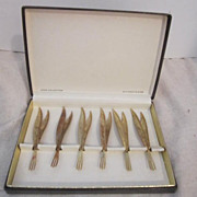 Vintage 24k Gold Plated Set of 6 Cocktail Forks in Original Box