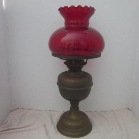 Antique kerosene oil lamp with ruby red glass shade double wick antique kerosene oil lamp with ruby red glass shade double wick design mozeypictures Image collections