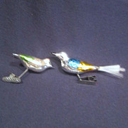 Vintage Pair of Christmas Mercury Glass Birds Tree Ornaments