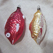 Vintage Pair of Mercury Glass Fish Christmas Tree Ornaments