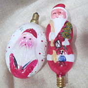 2 Vintage Santa Milk Glass Christmas Bulbs