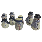 3 Sets of Christmas Snow People S & P Shakers