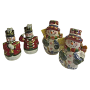 2 Sets of Happy Christmas Snowmen Salt & Pepper Shakers