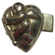 Pewter Heart Shaped with Cupid Ice Cream Mold