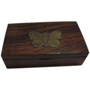 Small Wood Box with Brass Butterfly