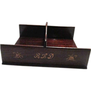 Antique Wood Letter Carrier with Inlaid Design
