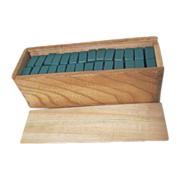 Green and White Domino Set in Wooden Box