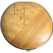 Wood Compact with Engraved Initials