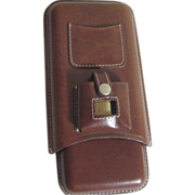 Leather Cigar Carrying Case with Lighter