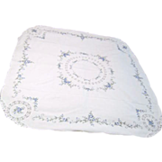 Hand Embroidered and Hand Crocheted Card Table Sized Tablecloth
