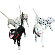 "Set of 5 Solid Lead Dogs with ""Spring"" Tails"