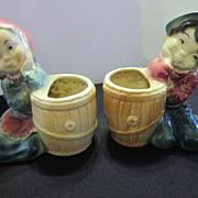 Royal Copley Vintage Pottery Ceramic Boy and Girl Vases