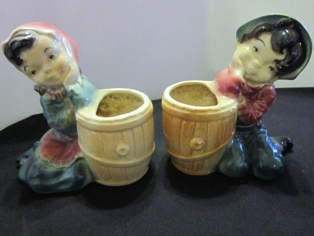 Royal Copley Vintage Pottery Ceramic Boy and Girl Vases