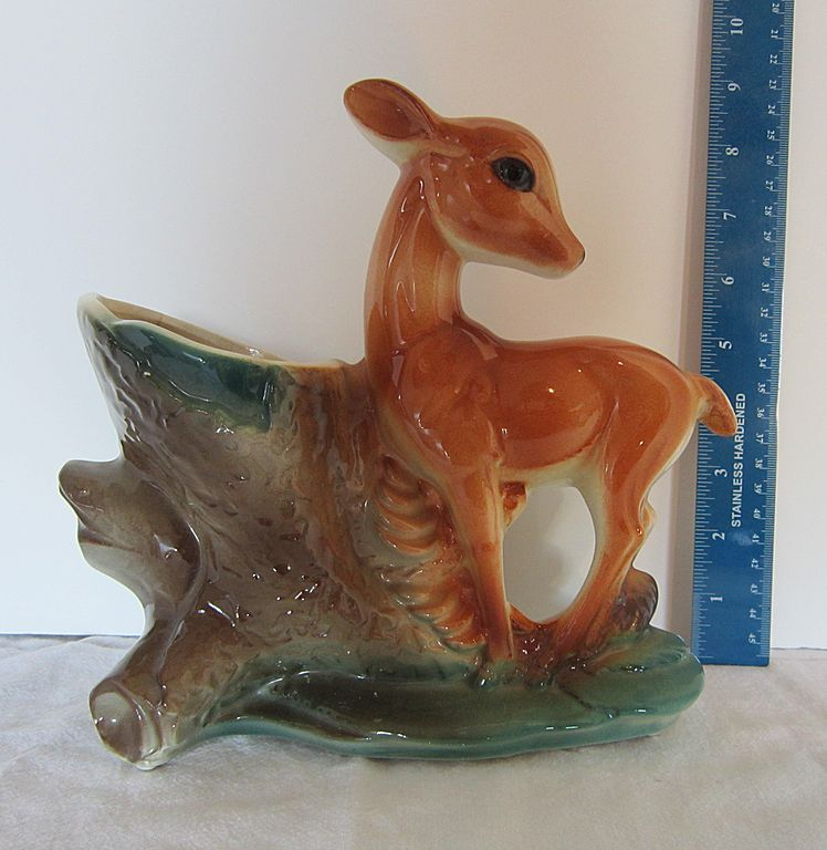 Royal Copley Pottery Ceramic Vintage Deer Vase