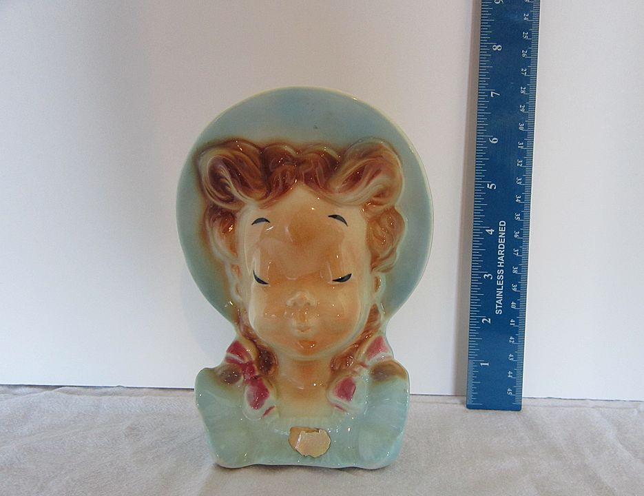 Vintage Royal Copley Porcelain Pottery  Girl Head Vase