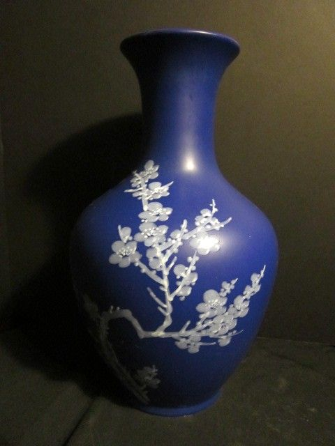 Vintage  Porcelain Blue Apple Blossom Vase