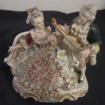 Vintage Ceramic Couple Signed with Crossed Swords