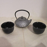 Vintage Japanese Tea Set By Roji- Iron Tea Pot Ceramic Cups