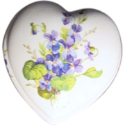 Porcelain Heart Shaped Box with Violets from Limoges France