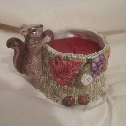 Vintage Fritz an Floyd Squirrel with an Acorn on a Tree-Candle/Autumn Woods