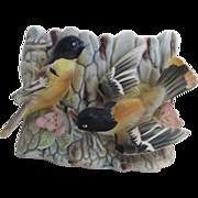 Ceramic Planter Tree Trunk with Two Orange and Black Birds