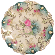 RS Prussia Small Plate with Roses Trimmed in Gold