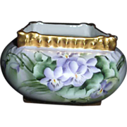 T&V Limoges Vase Handpainted by B. Irsch with Violets