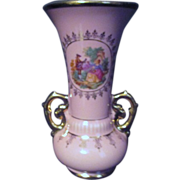 Pink Porcelain Vase with Pastoral Scene and Gold Trim