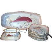 Antique Royal Bonn Hand Painted Serving Set Fish Platter, 11 Plates, Sauce Boat with Underplate