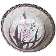 Hand Painted Flowers with Gold Trim Asian Bowl