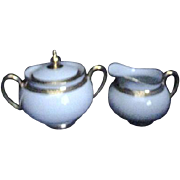 Nantes Pattern by Vignaud of Limoges France Creamer and Lidded Sugar
