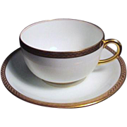White Porcelain Cup and Saucer Nantes Pattern by Vignaud Limoges France