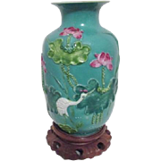 Mid Century Chinese Green Vase with Applied Crane and Flowers on Wood Stand