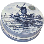Delft Blue Hand Painted Porcelain Face Powder Box with Windmill Scene