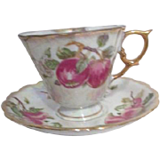 Cup and Saucer Lustreware with Apple Motif for January