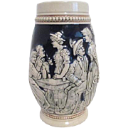 Large Beer Stein with country Drinking Scene