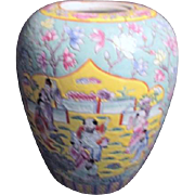 Vintage Hand Painted Chinese Ginger Jar without Lid