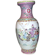"""Tall 18"""" High Chinese Hand Painted Vase with Party and Boat"""