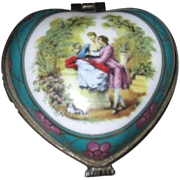 Imperial Porcelain Heart Shaped Box with Scene of Couple in Garden