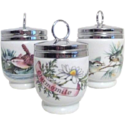 Three English Porcelain Egg Coddlers by Royal Worcester