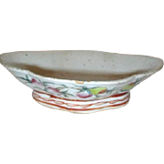 Antique Chinese Ceramic Footed Bowl with Hand Painted Ornamentation