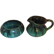 Green Cream and sugar Set Hand Made for the Butchart Gardens Victoria Canada