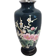 Japanese Shippo Cloisonne Green Vase with Fruit Blossoms on Wood Stand(Japanese cloisonne vase)