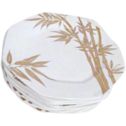 Set of 4 Mikasa Bone China Luncheon/Salad Plates Katsura Bamboo