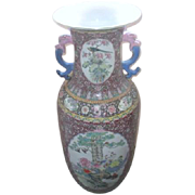 "Hand Painted Chinese Vase 35 1/2"" High with Pink and Blue Dragon Handles"